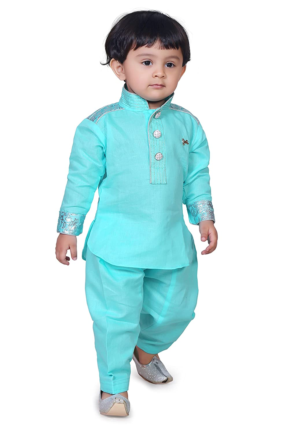 Munna Munni Classic Turquoise Blue Cotton Linen Pathan Suit for Baby ...