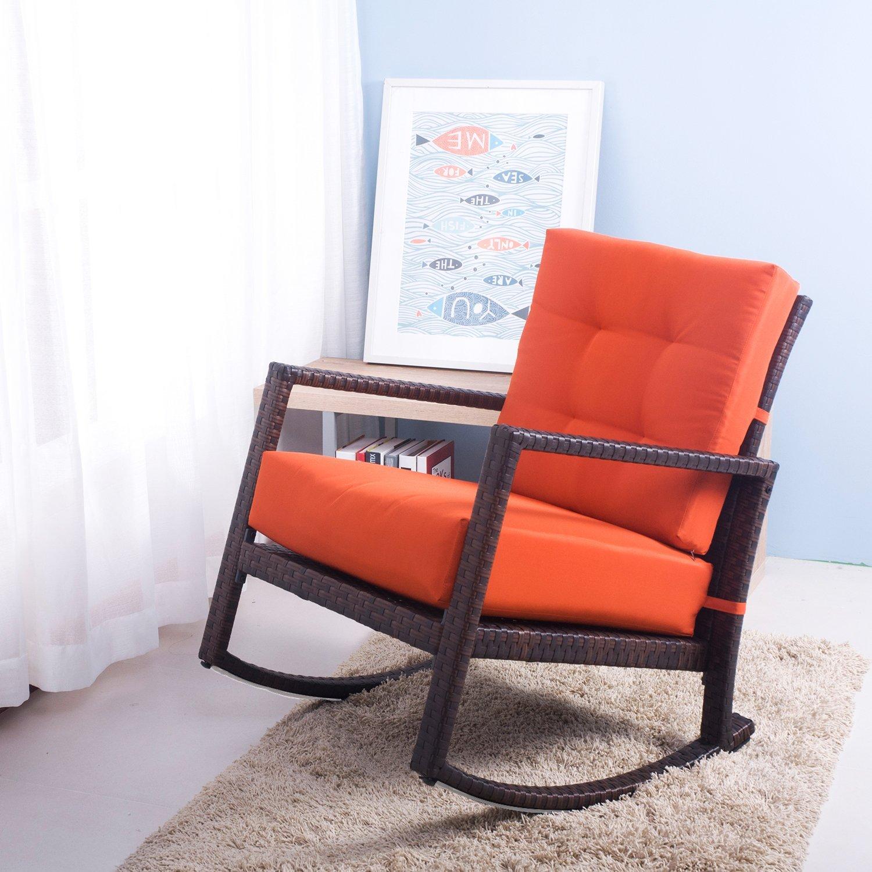 Delightful Amazon.com : Merax Cushioned Rattan Rocker Chair Rocking Armchair Chair  Outdoor Patio Glider Lounge Wicker Chair Furniture With Orange Cushion :  Garden U0026 ...