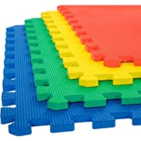 Her Home - Eva Kid's Interlocking Multi Color Play Mat - 10 Mm Thickness - Set Of 4 Tiles - 60 Cm X 60 Cm Each Tile