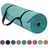 "Gaiam Essentials dikke yogamat, fitness- en oefenmat, met Easy-Cinch yogamat, draagriem, 72 ""L x 24 ""W x 2/5 inch dik"