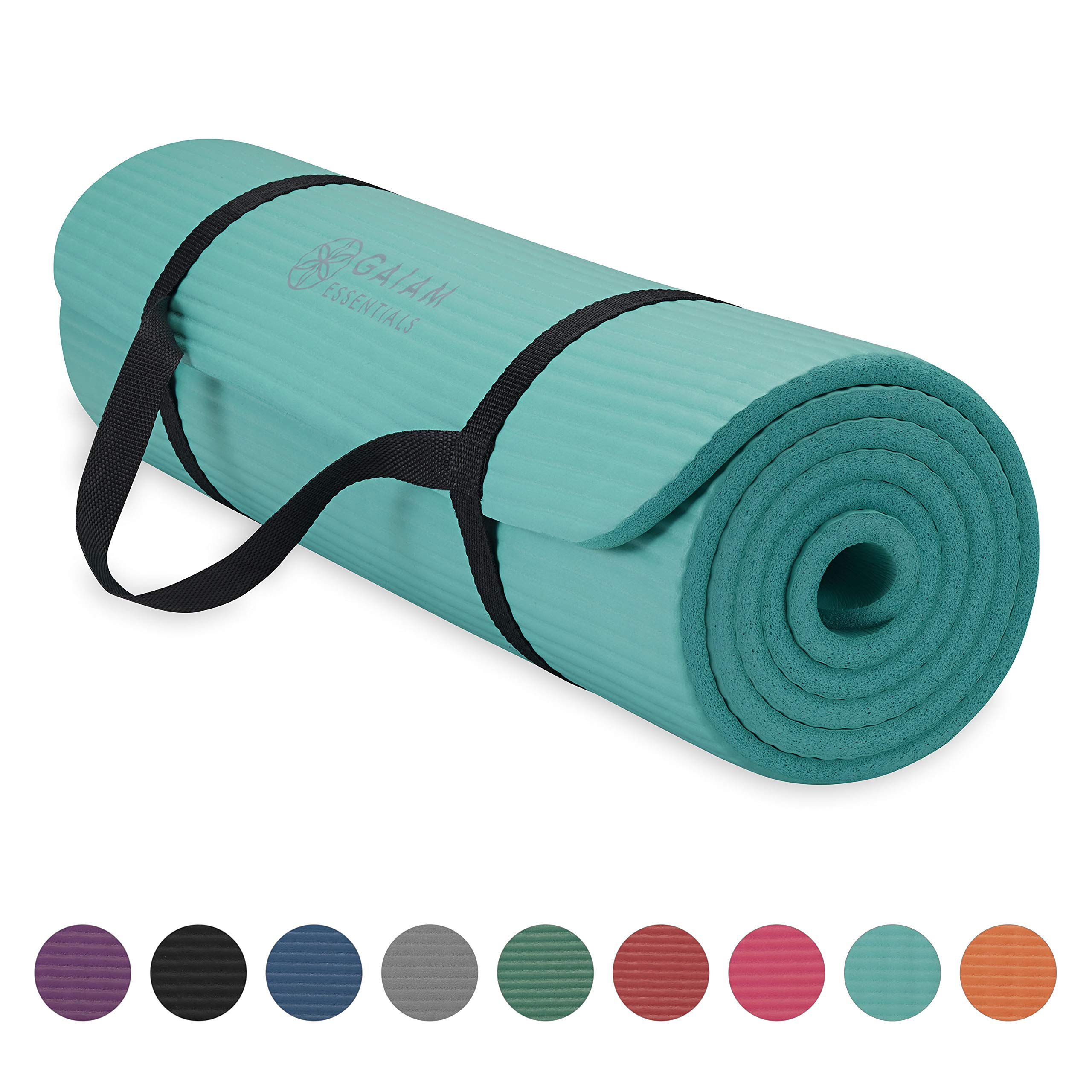 Gaiam Essentials Thick Yoga Mat Fitness & Exercise Mat with Easy-Cinch Yoga Mat Carrier Strap, Teal, 72''L x 24''W x 2/5 Inch Thick