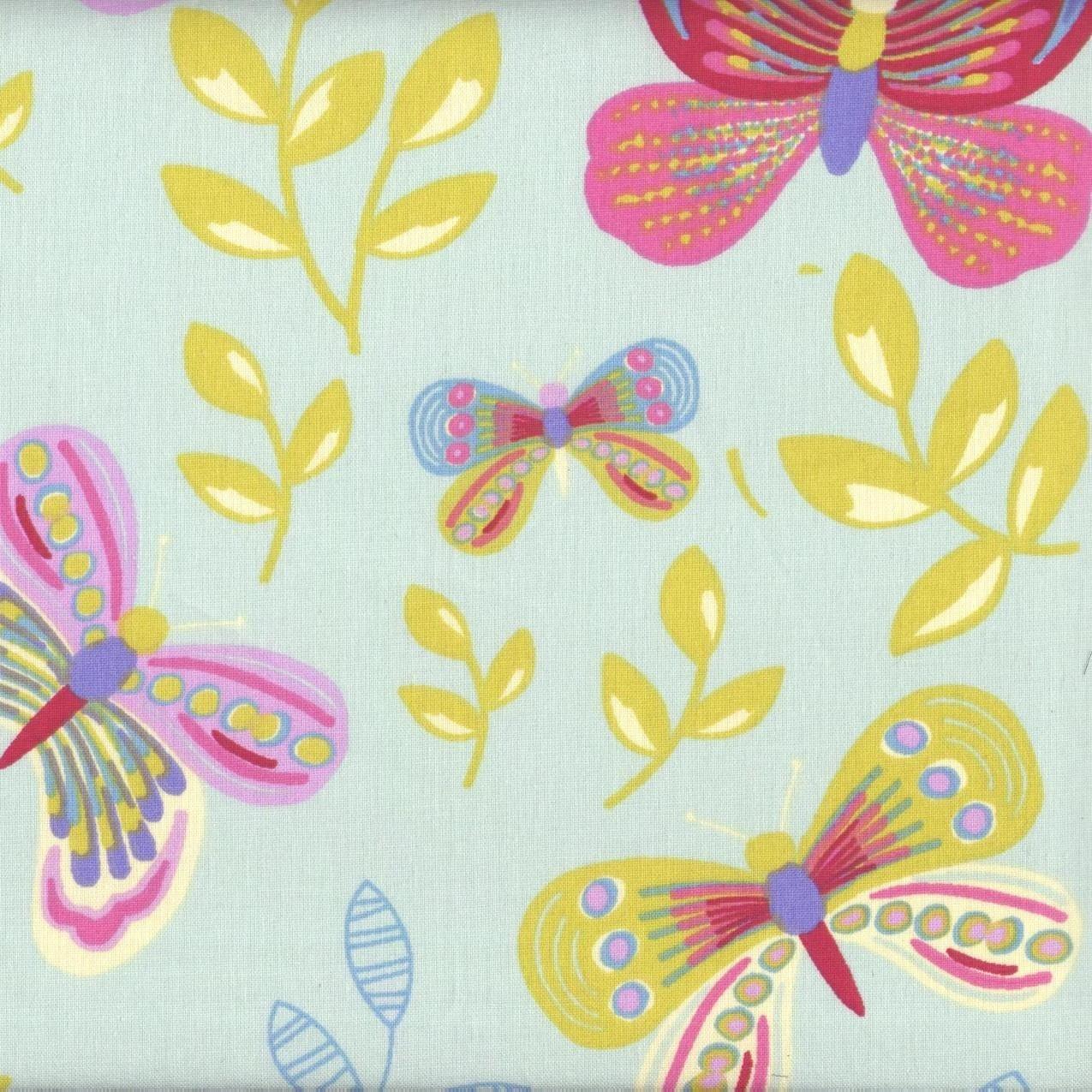 Tela mariposas Las mariposas multicolores - verde menta - 100% algodón suave   ancho: 160cm (1 metro): Amazon.es: Hogar