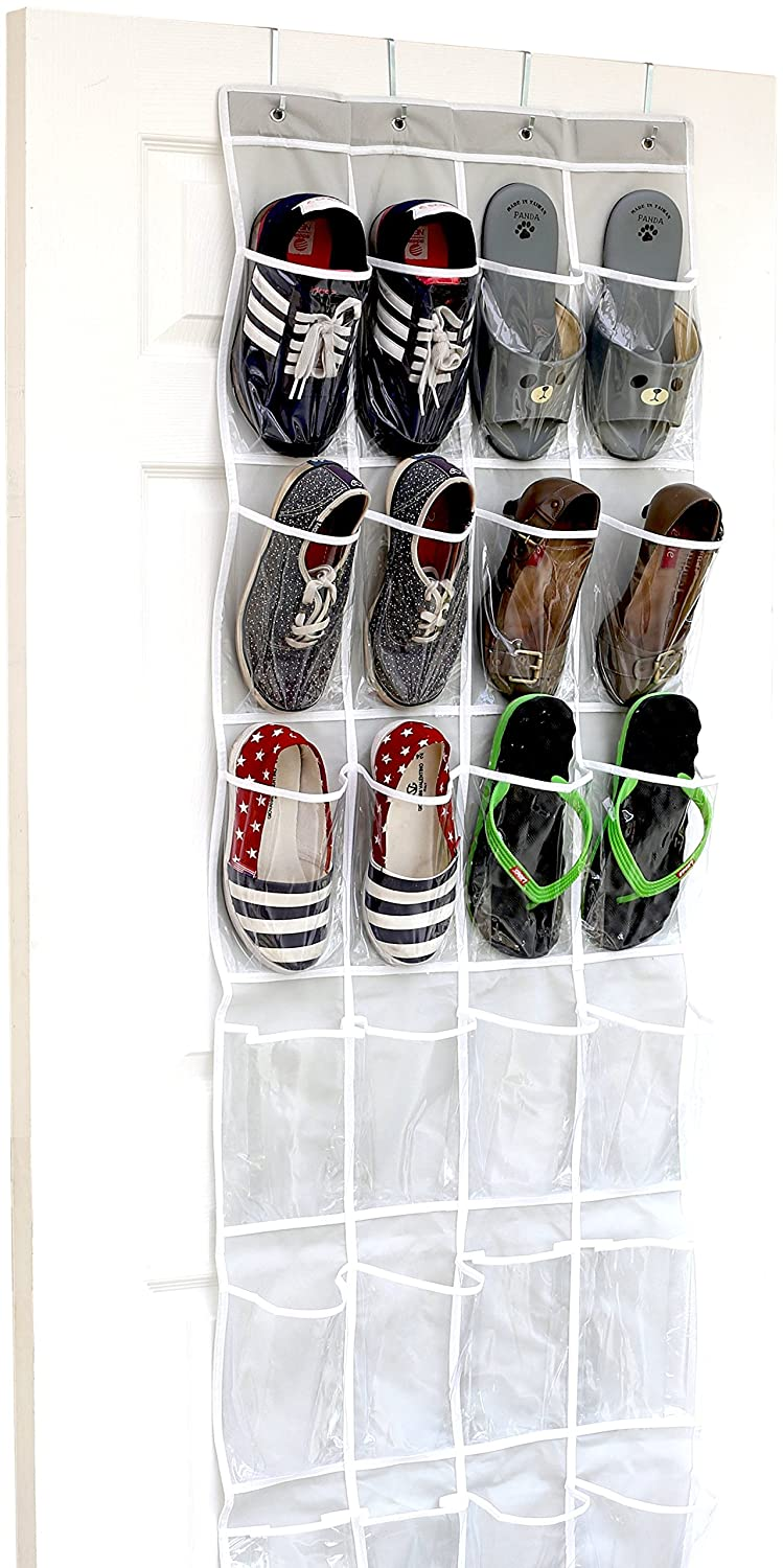 24 Pockets - SimpleHouseware Crystal Clear Over The Door Hanging Shoe Organizer, Gray (64