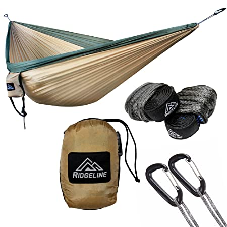 Ridgeline Double Camping Hammock – Portable Lightweight Parachute Nylon – Tree Straps, Dyneema Rope Suspension and 5kN Carabiners Khaki Dark Green