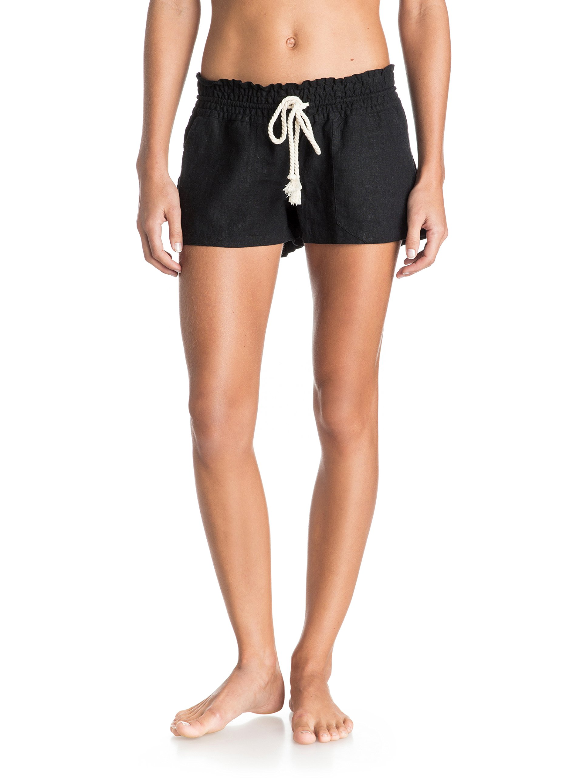 Roxy Junior's Oceanside Short Elastic Waist Non Denim Shorts, True Black, Large by Roxy