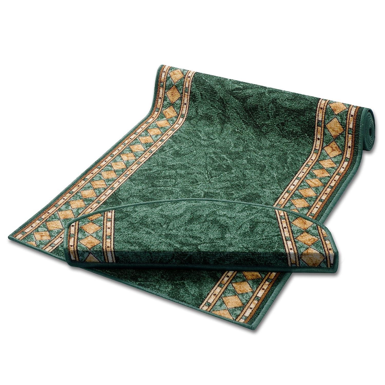Casa pura Läufer grün mit Aufwendiger Randmusterung   Qualitätsprodukt aus Deutschland   Gut Siegel   Kombinierbar mit Stufenmatten   3 Breiten und 27 Längen (80 x 700cm)