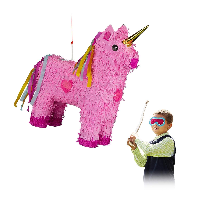 Relaxdays 10024662 Pinata Licorne à Suspendre pour Enfant Fille Anniversaire Rose 47 x 43 x 13 cm
