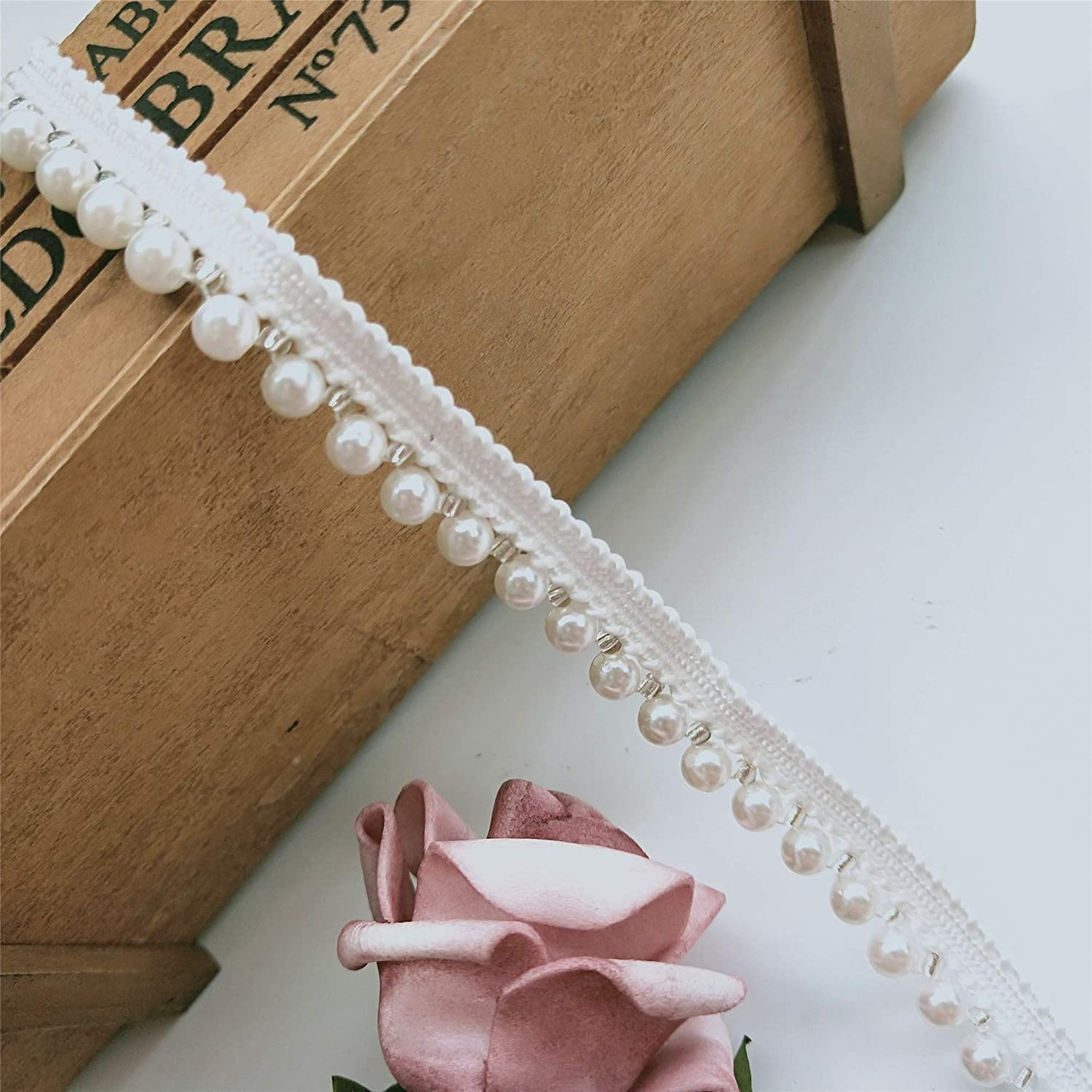 1 Metre Pearl Lace Trim Ribbon with Beads Edge Fabric Tape 1.3cm Wide Vintage Style White Edging Trimmings Fabric Embroidered Applique Sewing Craft Wedding Bridal Dress Embellishment DIY Decoration Clothes Embroidery Qiuda
