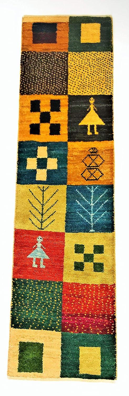 ペルシャ遊牧民手織りギャッベ、廊下ひき&キッチンマット(147㎝×38㎝) B07SJ3H7LM