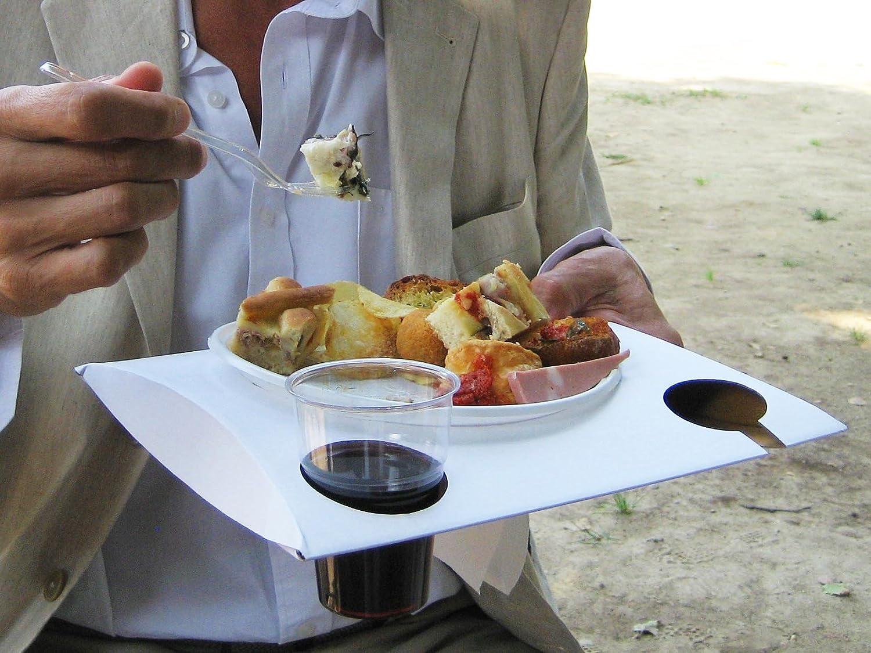 Il Vassoio Perfetto per Catering e cene in Piedi 25 Pezzi, Bianco Scatolificio Crippa Eco Vassoio Party
