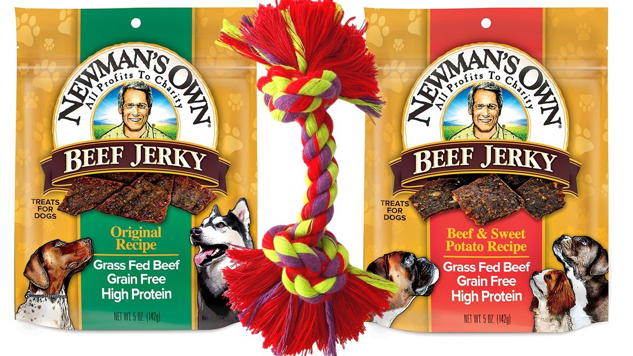 Newman's Own Grain Free Grass Fed Beef Jerky Dog Treats 2 Flavor Variety with Toy Bundle: (1) Original Recipe, and (1) Beef & Sweet Potato Recipe, 5 Oz. Ea. (2 Bags Total)