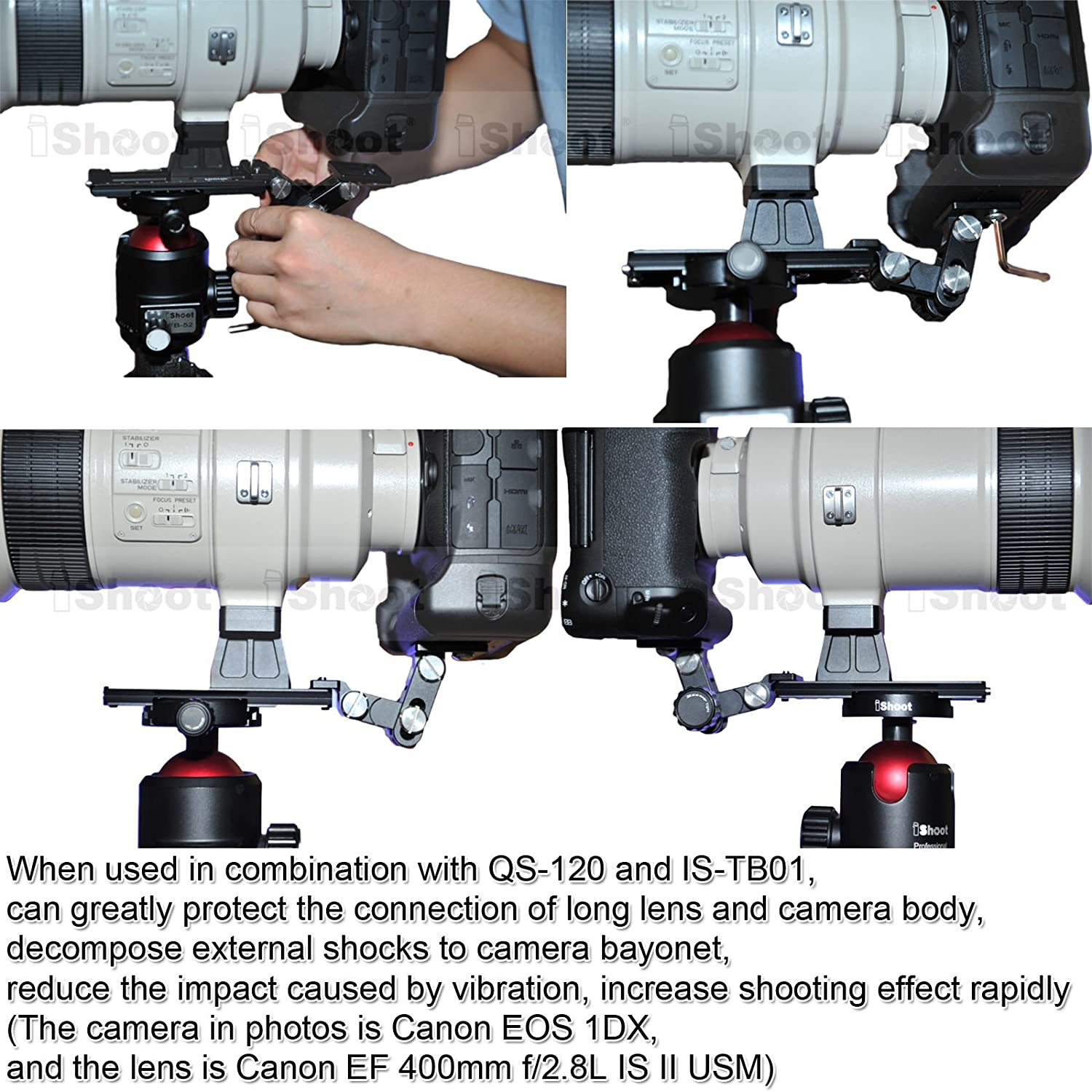 Telephoto Lens Bracket for Canon EF 800mm f//5.6L IS USM EF 200-400mm f//4L IS USM EXTENDER 1.4X Camera Quick Release Plate iShoot Lens Support Collar Foot Tripod Mount Ring Stand Base