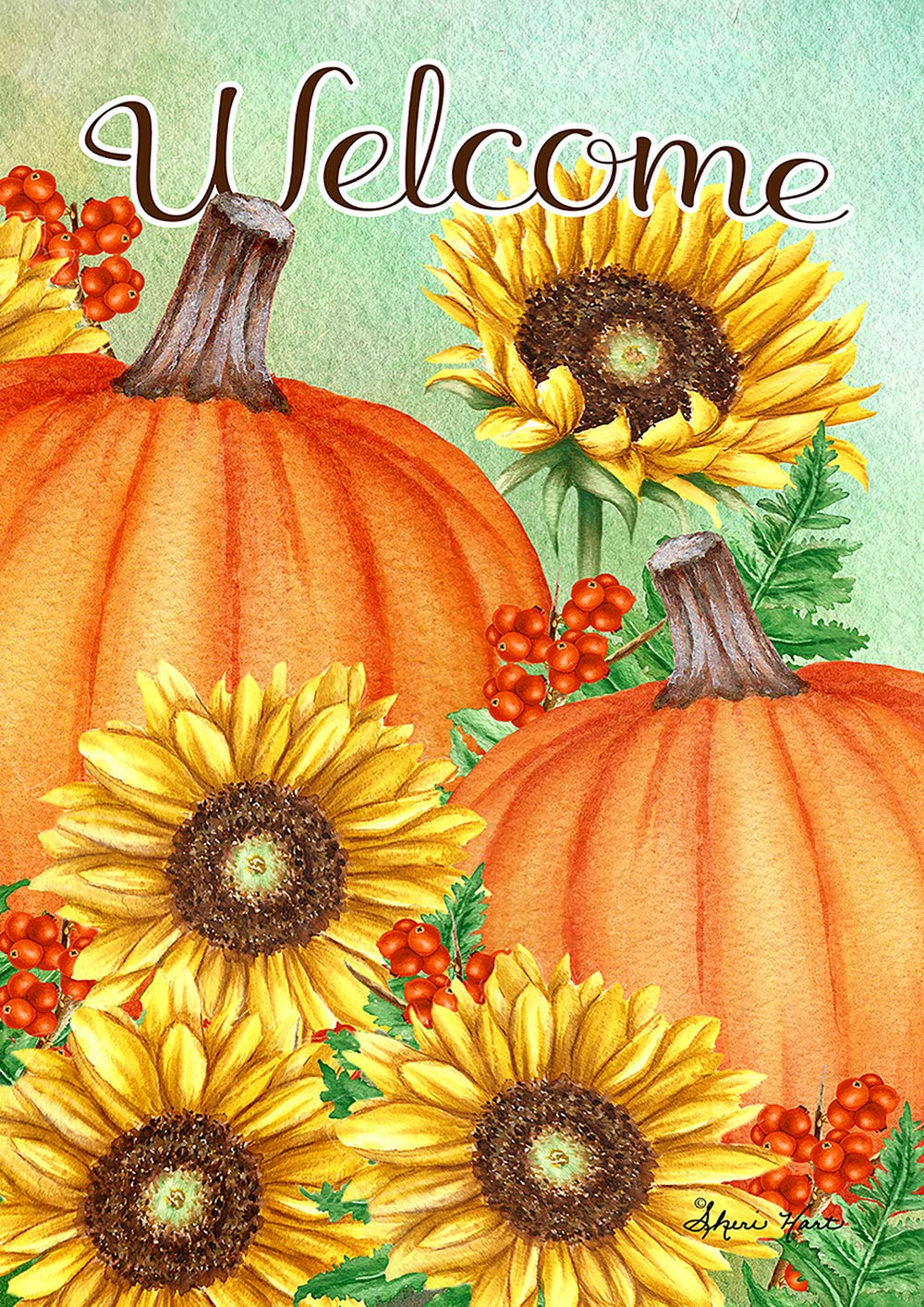 Toland Home Garden 1012208 Pumpkins and Sunflowers 28 x 40 inch Decorative, Fall Autumn Welcome, House Flag