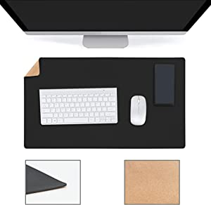 """YSAGi Multifunctional Office Desk Pad, Ultra Thin Waterproof PU Leather Mouse Pad, Dual Use Desk Writing Mat for Office/Home (23.6"""" x 13.7"""", Cork+Black)"""