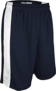 """product image for PT-6939-CB Men's and Women's Performance Dry Fit 9"""" Short with White Side Panel-Made with Moisture Management and Odor Defense (X-Small, Navy/White)"""