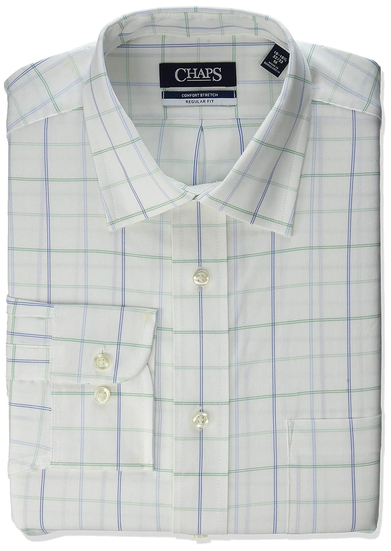 Chaps Mens Dress Shirt Regular Fit Stretch Check