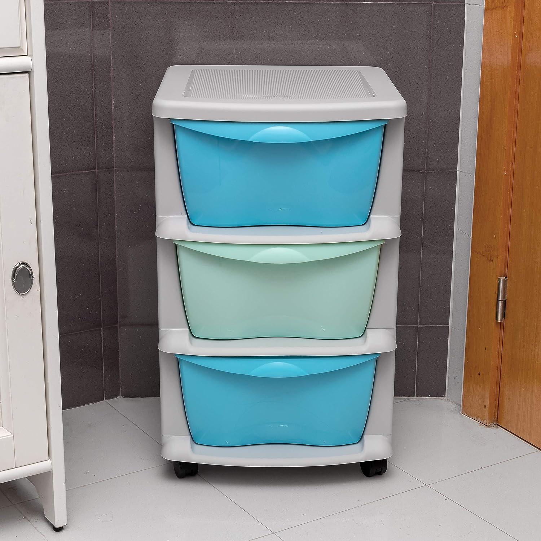 Cassetti di stoccaggio in plastica su ruote pesanti Mobiletto robusto nero per contenitori in 3 cassetti Blu e Verde Fatto in Europa