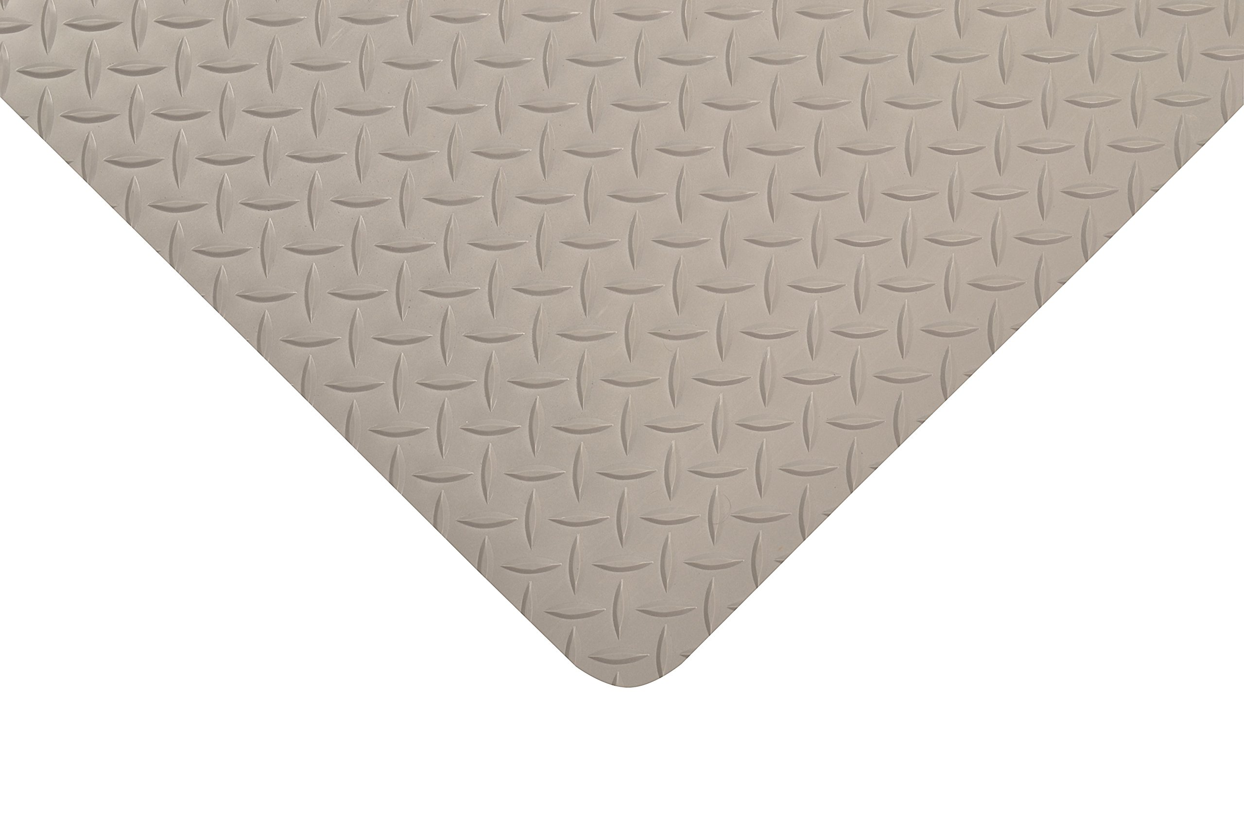 NoTrax Vinyl 979 Saddle Trax Grande Anti-Fatigue Mat, for Dry Areas, 3' Width x 5' Length x 1'' Thickness, Gray