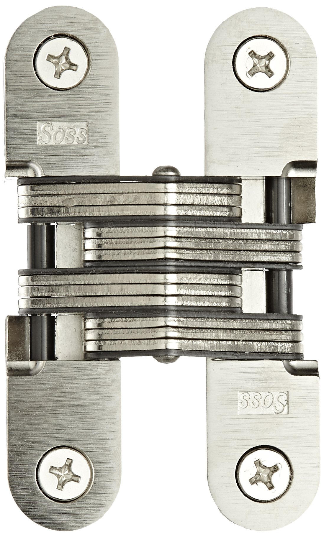 SOSS Mortise Mount Invisible Hinge with 4 Holes, Zinc, Satin Nickel Finish, 4-5/8'' Leaf Height, 1'' Leaf Width, 1-7/16'' Leaf Thickness, 14 x 1-1/2'' Screw Size