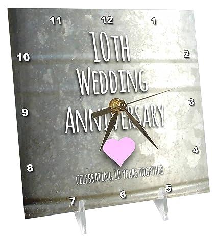 Amazon.com: 3dRose 10th Wedding Anniversary Gift - Tin Celebrating ...