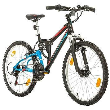 Bikesport Parallax Bicicleta De montaña Doble suspensión 24 Ruedas, Shimano 18 velocidades (Azul Negro