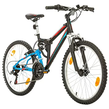 Bikesport Parallax Bicicleta De montaña Doble suspensión 24 Ruedas, Shimano 18 velocidades (Azul Negro): Amazon.es: Deportes y aire libre