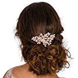 Rose Gold Bridal Hair Comb Slide Clip Wedding Hair Accessories