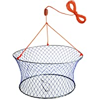 """Palmyth Wire Grid Bottom Crab Nets Two Ring Crab Kit with Harness and Bait Clip 24"""" X 20"""" X 12"""""""