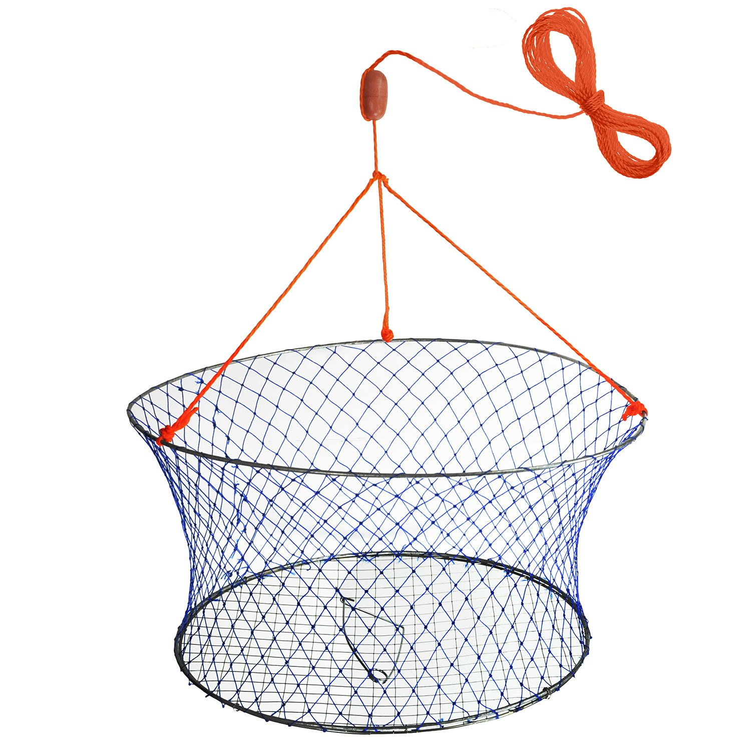 "Palmyth Wire Grid Bottom Crab Nets Two Ring Crab Kit with Harness and Bait Clip 24"" X 20"" X 12"""