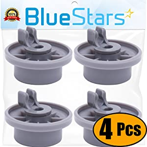 Ultra Durable 165314 Dishwasher Lower Rack Wheel Replacement Part by Blue Stars - Exact Fit for Bosch & Kenmore Dishwashers - Replaces 00420198 420198 - PACK OF 4