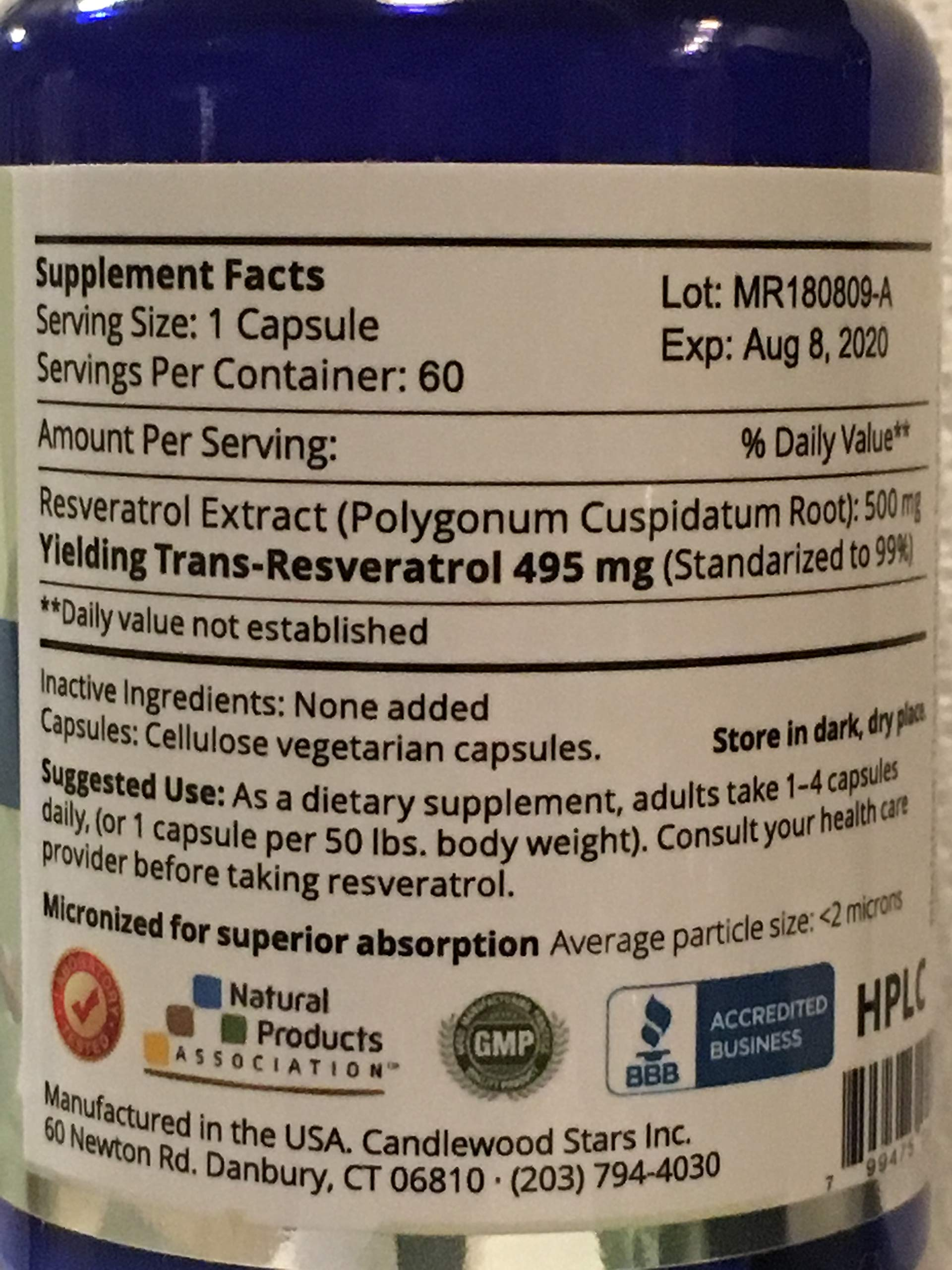 Mega Resveratrol, Pharmaceutical Grade, 99% Pure Micronized Trans-Resveratrol, 60 Vegetarian Capsules, 500 mg per Capsule. Purity Certified. Absolutely no excipients (aka Inactive Ingredients) Added