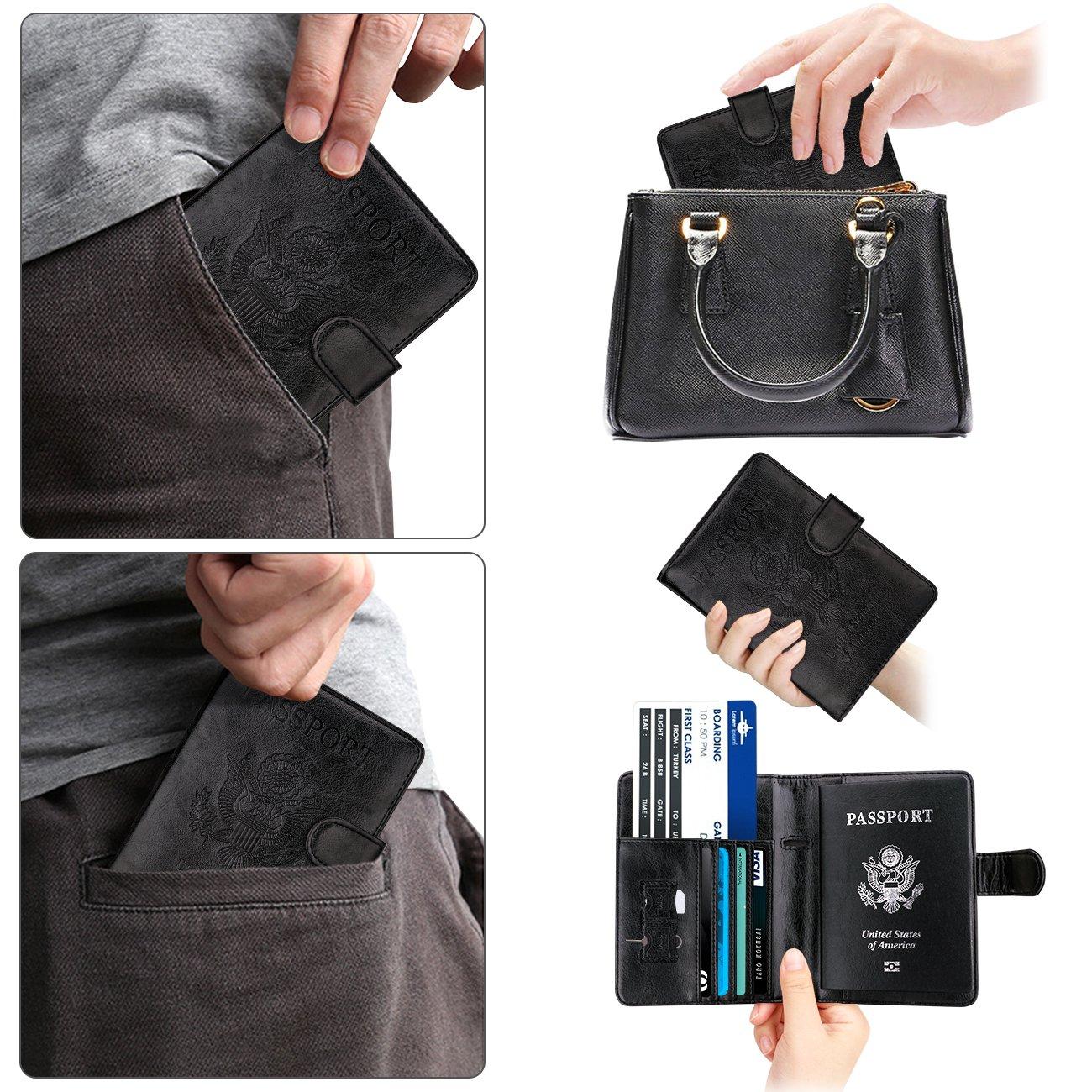 WALNEW Passport Holder Cover Case RFID Passport Travel Wallet,Gray