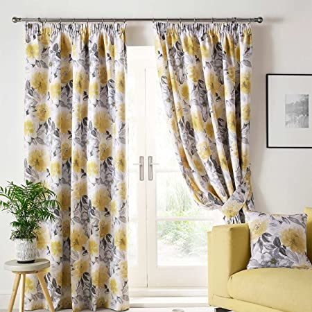 Homescapes Yellow And Grey Sofia Floral Pencil Pleat Curtains Pair W