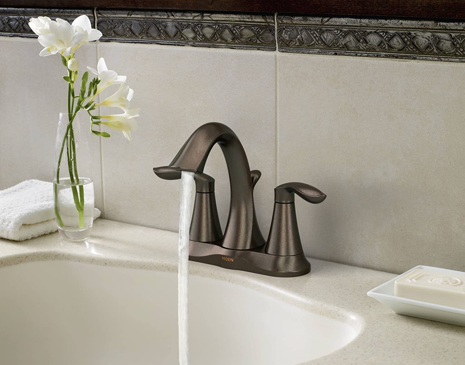Moen 6410ORB Eva Two Handle Centerset Lavatory Faucet With Drain Assembly, Oil Rubbed  Bronze   Touch On Bathroom Sink Faucets   Amazon.com