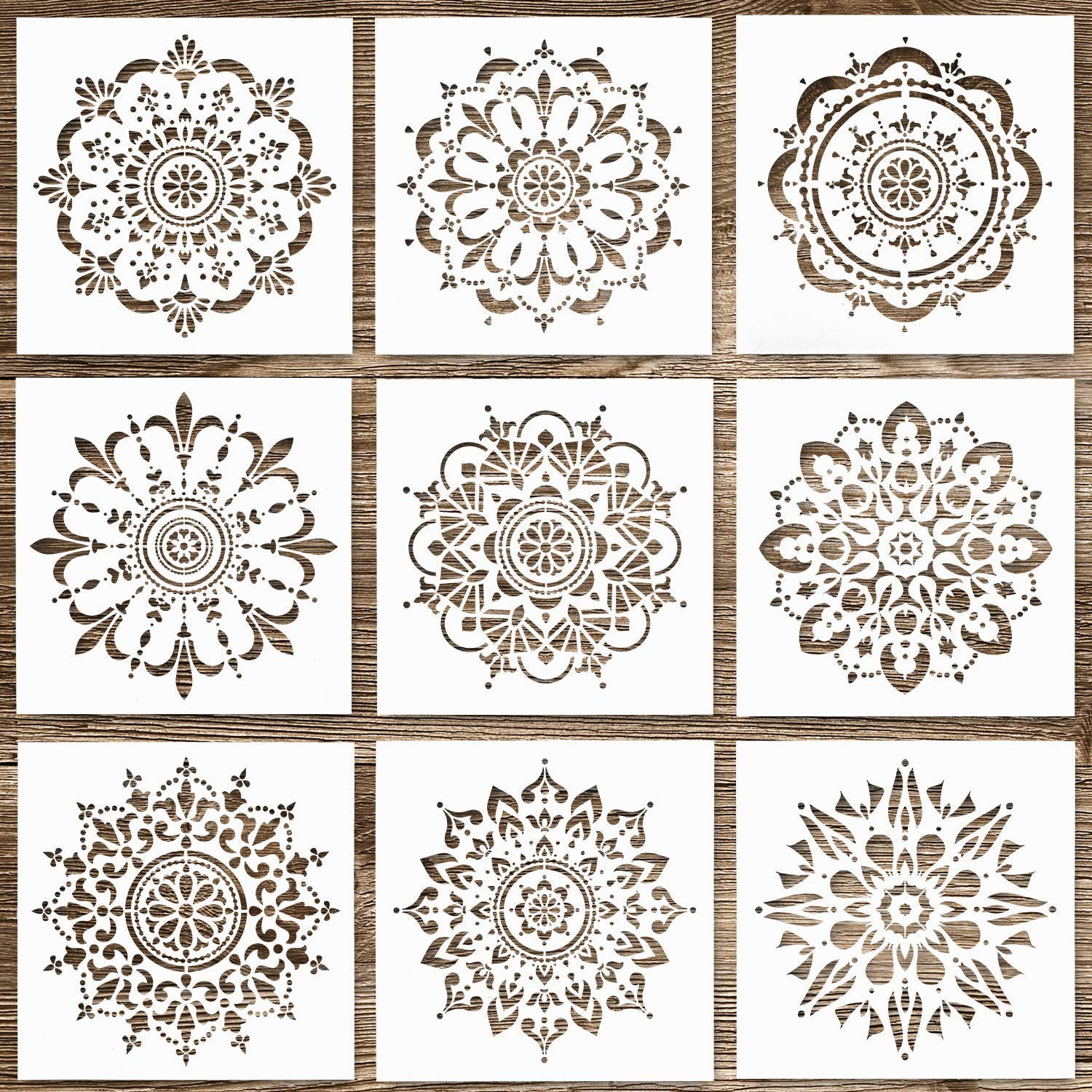 Whaline 9 Pack Reusable Mandala Stencils Tiles Template Set Laser Cut Painting Template Stencils Tool for Airbrush, Furniture Floor Tiles, Walls Art and Stone Rock Painting