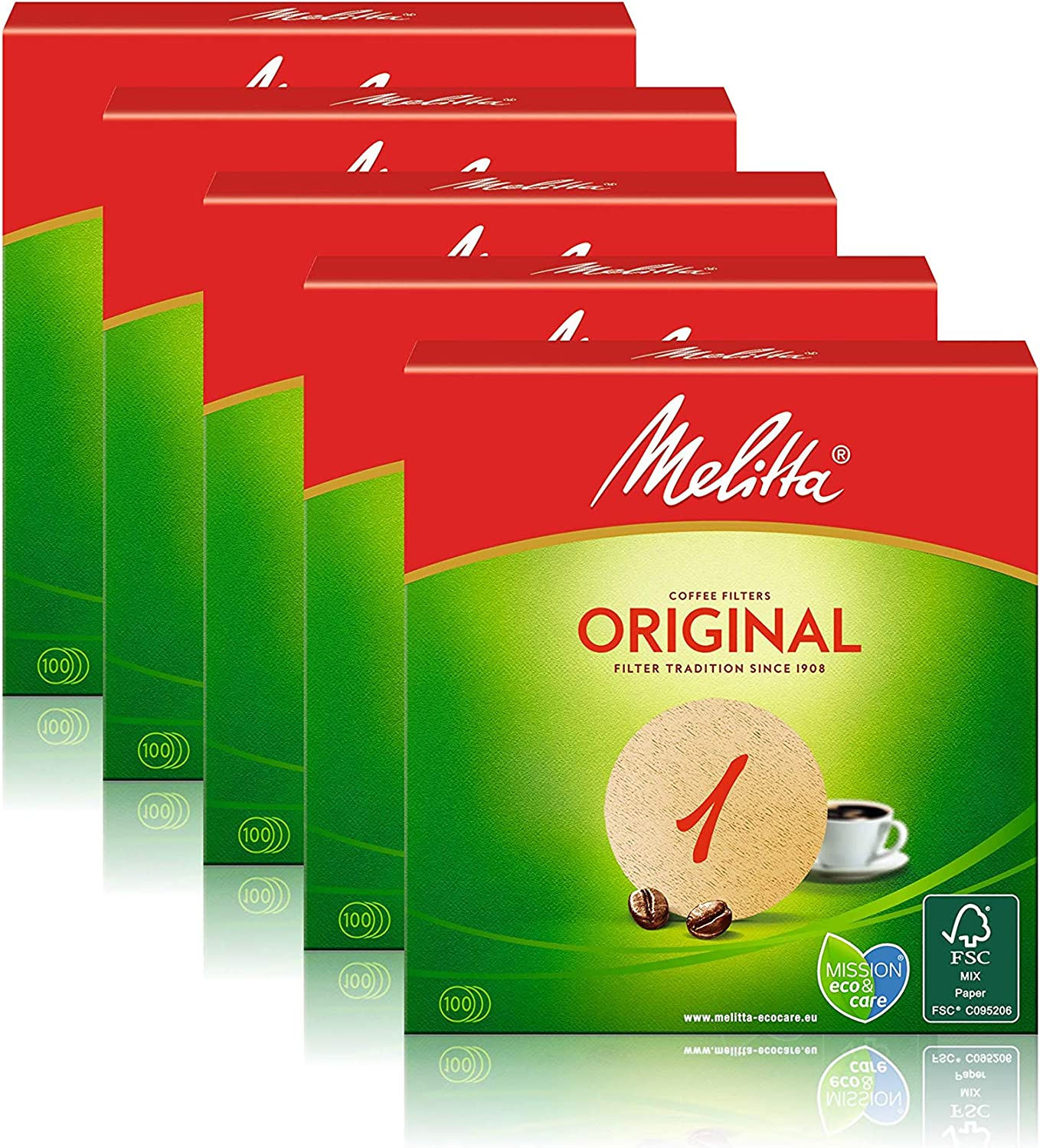 Melitta Round Filter Paper 1, Natural Brown, Pack of 5