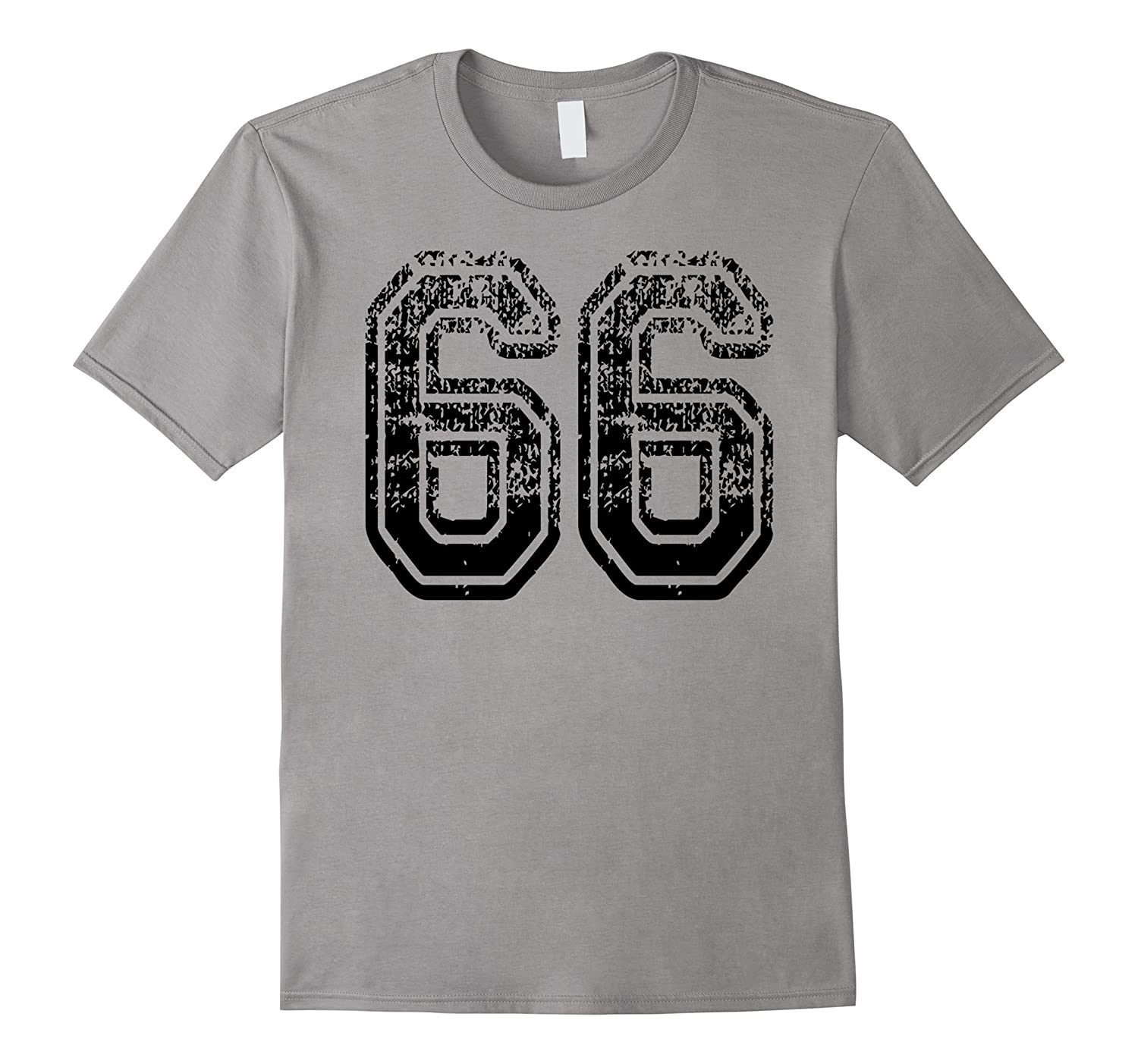 #66 Grungy Numbered Sports Team T-Shirts both sides in black-ANZ