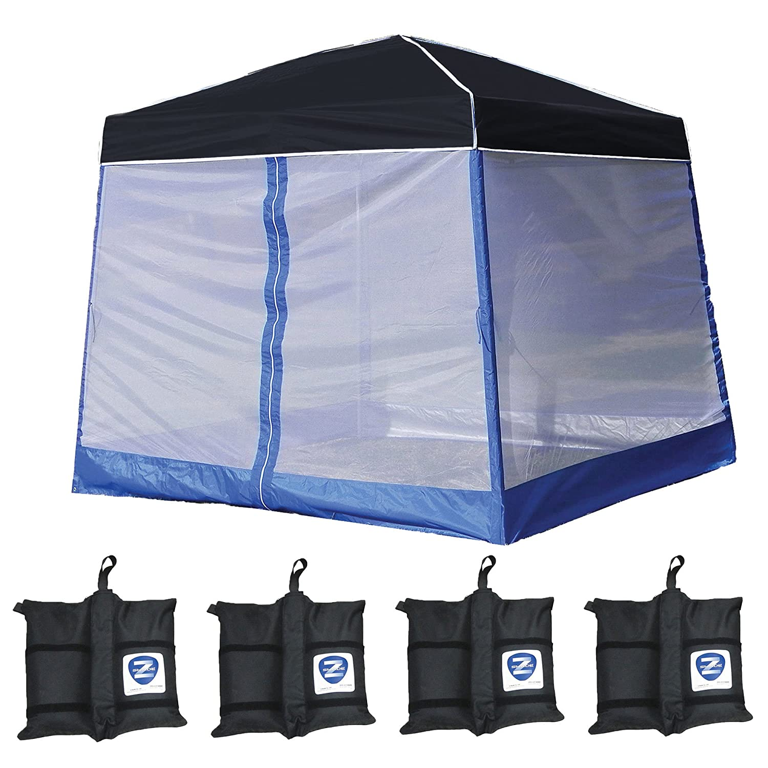ZShade 10' x 10' Angled Leg Instant Black Canopy Shelter with Screen & Weights