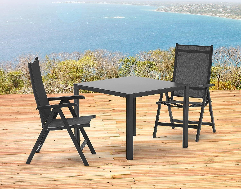 Kettler Basel Gartenmöbel 1 Tisch 95x95 Cm Und 2 Klappsessel In