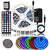 BIHRTC DC 12V LED Strip Lights SMD 5050 RGB 16.4Ft(5M) Not Waterproof IP20 Black PCB Board Lighting 60leds/m 44 Keys IR Remote Controller 3A UL Power Adapter for Xmas Party Bedroom Indoor Decoration