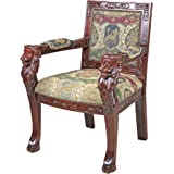 Design Toscano AF51351 Beardsley Heraldic Lion Fabric Arm Chair