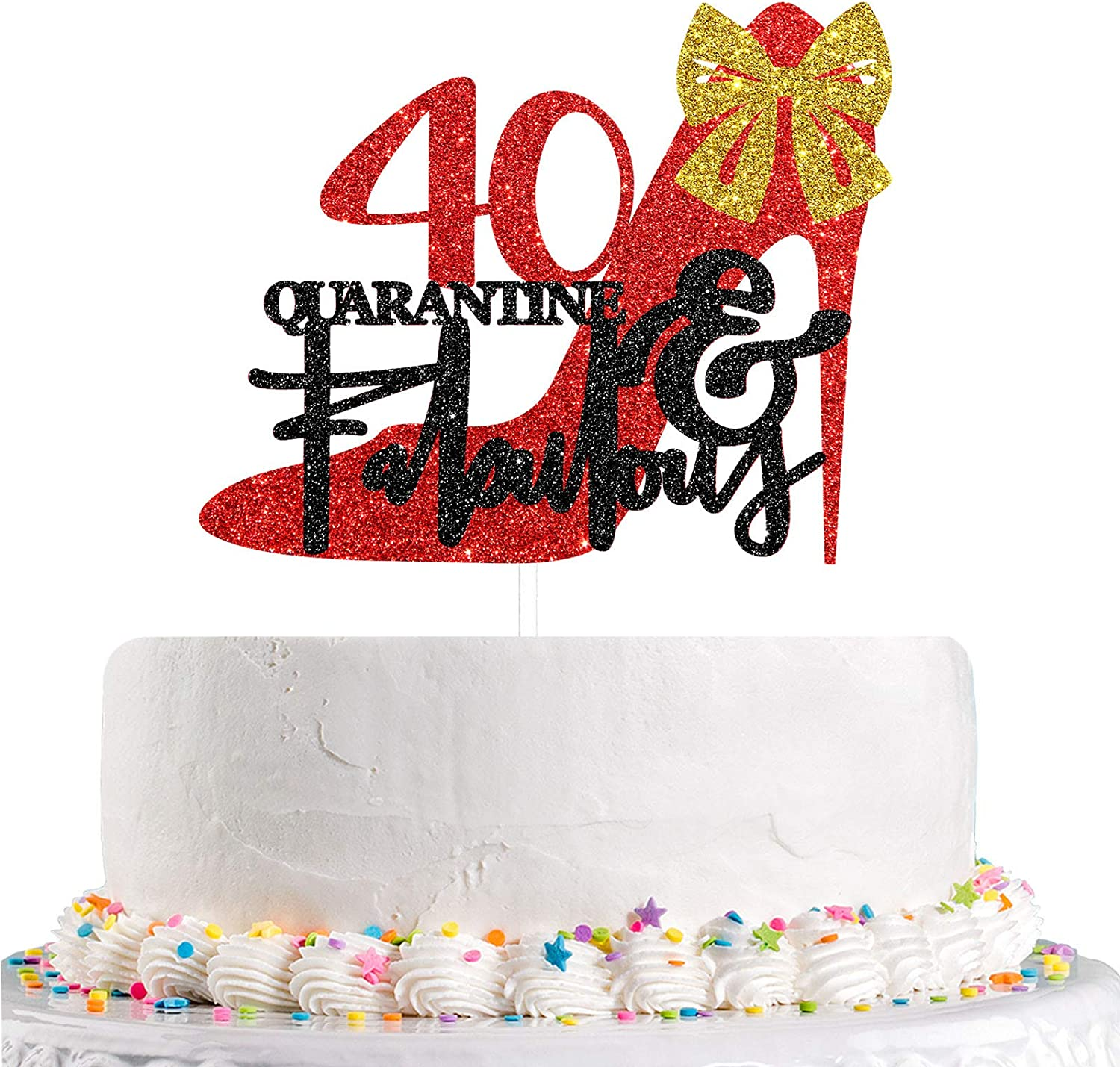 Talorine Red Black Forty & Fabulous Cake Topper for 40th Birthday Decor, 40 & Quarantine Fabulous, Women and Girls Forty Theme Birthday Wedding Anniversary Party Cake Decorations Supplies Glitter