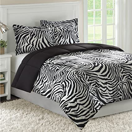Amazon.com: Zebra Bedding Down Alternative Comforter Set by ...