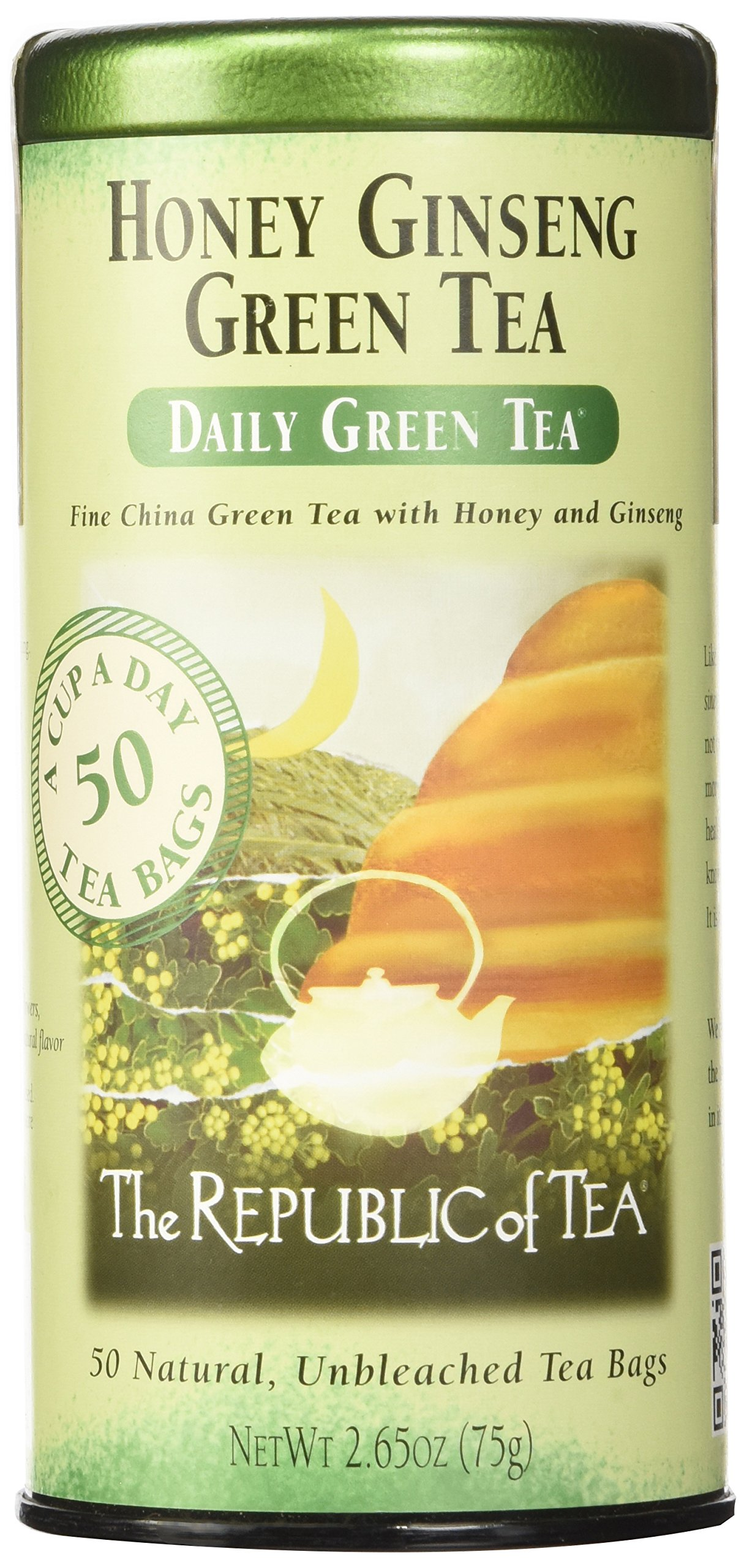 The Republic of Tea, Honey Ginseng Green Tea, Caffeinated, 50 Tea Bags