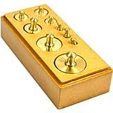 Eisco Labs Primary Weight Set - Brass - in Hardwood Storage Block - 9 Pieces