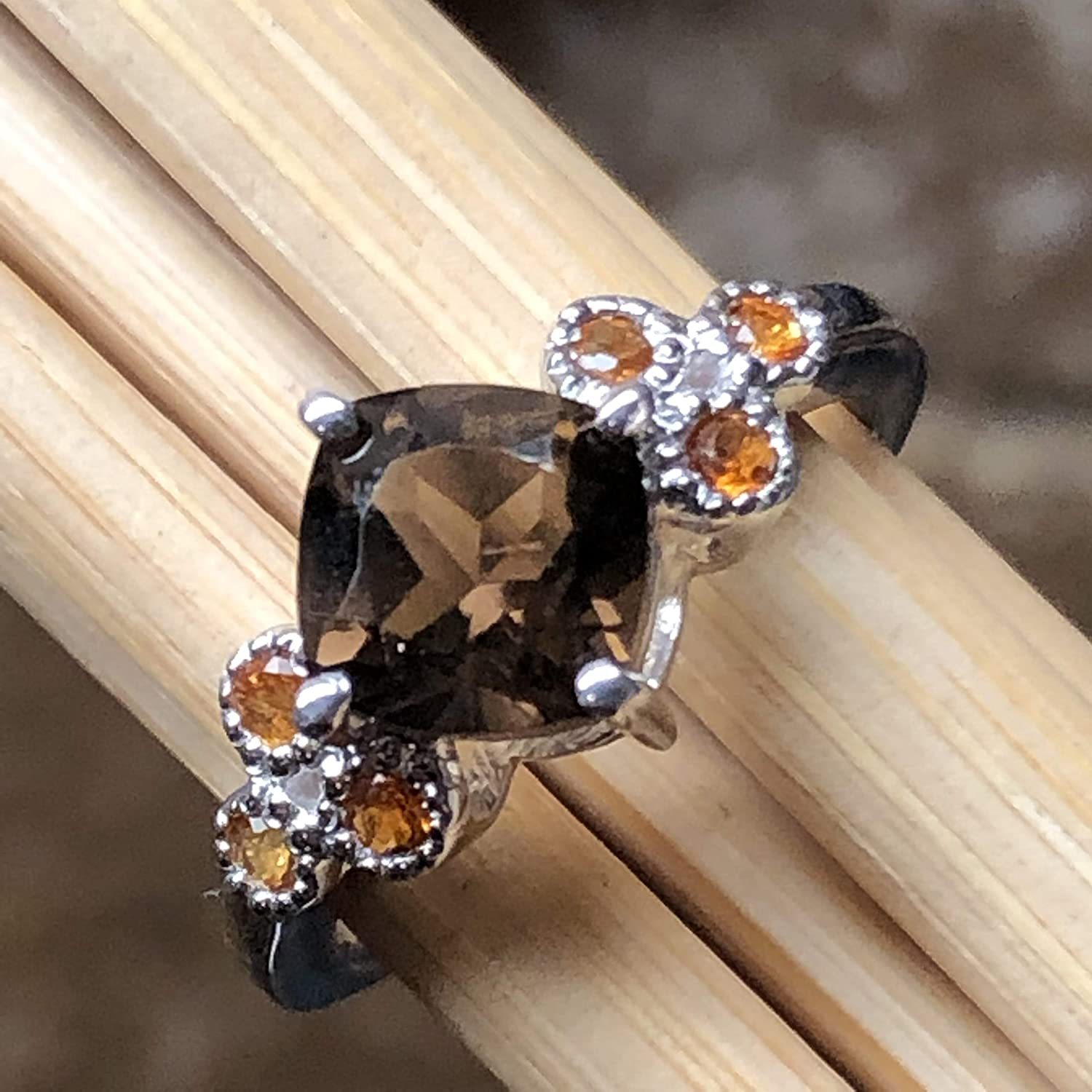 7 8 Genuine 1ct Smoky Topaz Golden Citrine 925 Solid Sterling Silver Engagement Ring Size 6