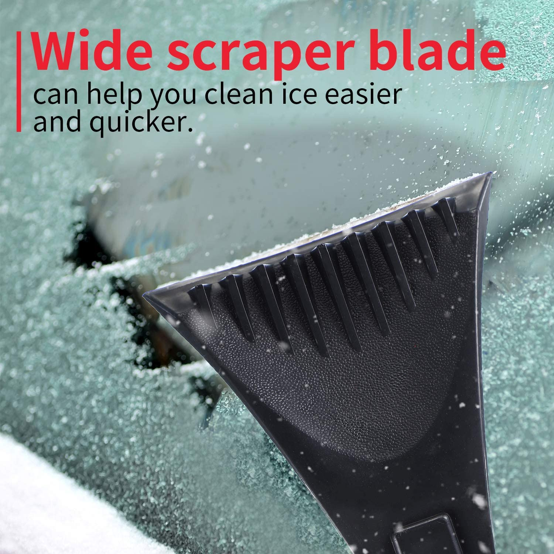 Mudder 2 Pieces Snow Ice Removal Tools Foam Handle Snow Scraper Plastic Mini Frost Snow Scraper Snow Ice Scraper Kit for Car Windshield and Window Black