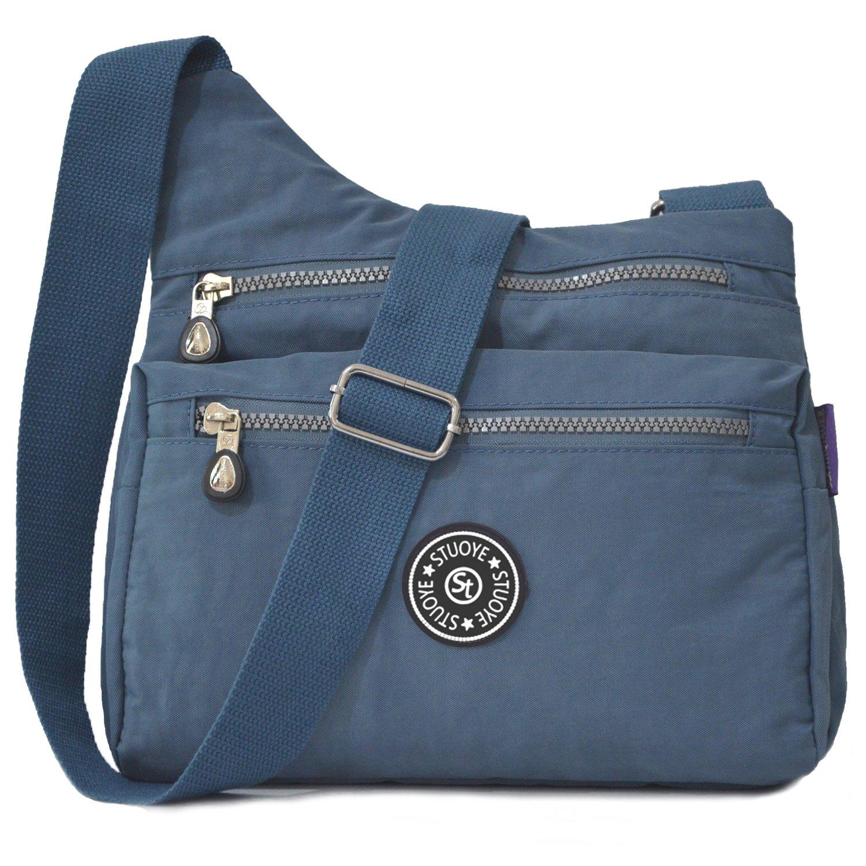 STUOYE Nylon Multi-Pocket Crossbody Purse Bags for Women Travel Shoulder Bag (Z187 Steel Gray)
