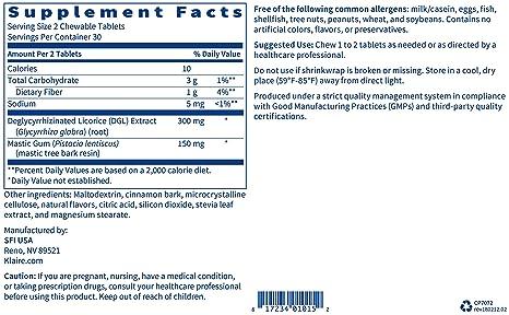 Complementary Prescriptions - Mastic Gum/DGL 60 chew wafers