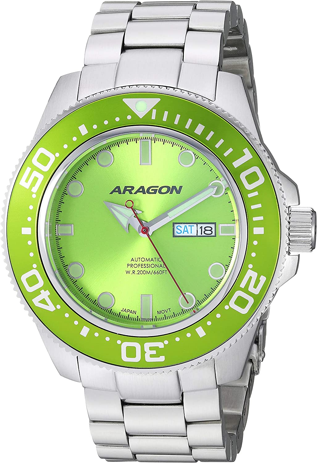 Aragon Men s Automatic-self-Wind Watch with Stainless-Steel Strap, Silver, 24 Model A054LIM